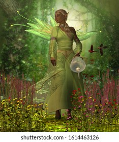 Fairy Lamp 3D illustration - A fairy holding a candle lamp takes a walk in the magical forest full of flowers and wild Cardinal birds.