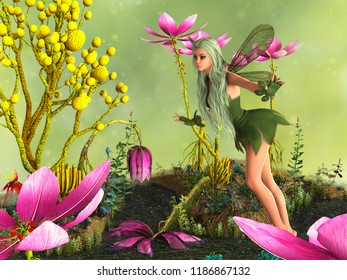 Fairy in magical garden with flowers and water stream. 3D rendering.