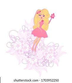 Fairy on the background with beautiful decorative pink doodle flowers