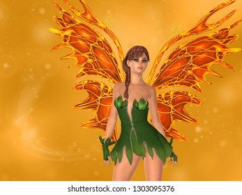 Fairy with orange butterfly wings and blurred background. 3D rendering.