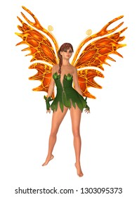 Fairy with orange butterfly wings standing. Isolated on white. 3D rendering.