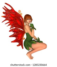 Fairy in squat position with red butterfly wings, isolated on white. 3D rendering.