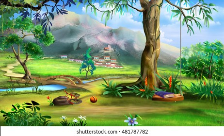 Fairy Tale Background with Swings and Small Bridge Over the River. Digital Painting, Illustration in cartoon style character.