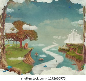 Fairy tale, cartoon background, digital art. Illustration of a fairytale  fantastic forest , castle, bridge, lake ,sky and big tree in sky ,concept art card
