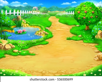 Fairy tale, cartoon background, digital art. Illustration of a fairy garden and lake. Can be used as location for games or illustration for books