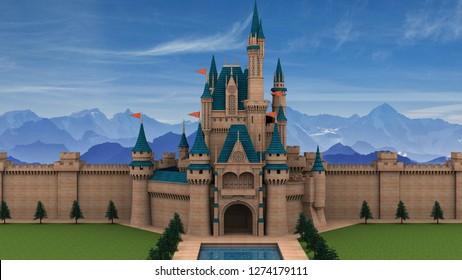 Fairy tale castle - 3D Illustration