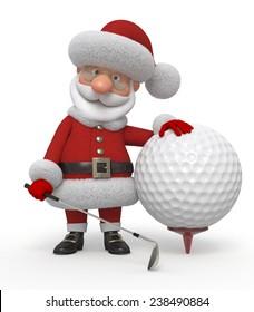The fairy tale character plays golf/3d Santa Claus golfer