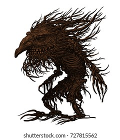 Fairy tale character, troll, old tree, goblin, monster, graphic illustration.