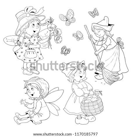 Fairy Tale Characters Cinderella Set Cute Stockillustration