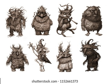 Fairy tale characters set, trolls, old tree, goblins, monsters, graphic illustration.