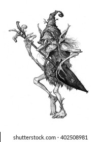 Fairy tale characters, trolls, old tree, goblins, monsters, graphic illustration.