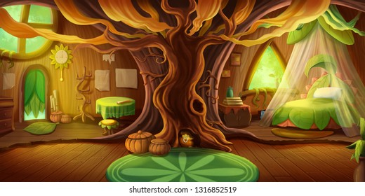Fairy Tale Cottage Interior. Fiction Children Backdrop. Concept Art. Realistic Illustration. Video Game Digital CG Artwork. House Building Scenery.