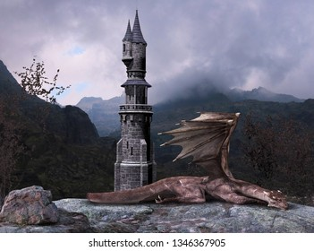 Fairy tale fantasy tower guarded by a dragon, mountains in the background, 3d render painting