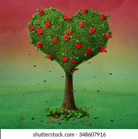 Fairy tale illustration with  flowering tree in  shape of  heart.
