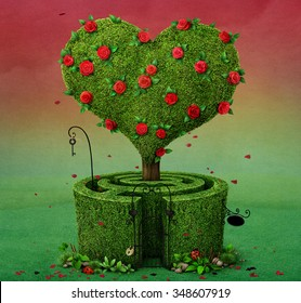 Fairy tale illustration with  flowering tree in  shape of  heart and  labyrinth.
