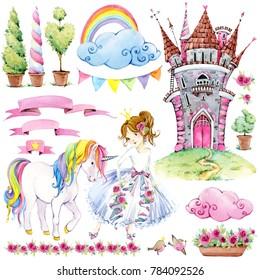 fairy tale kingdom set of watercolor illustration. Castle Princess. Unicorn. Princess girl. magic world background.