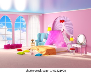 Fairy tale princess room. The pink bedroom girl with armchair, canopy and large windows. 3d illustration