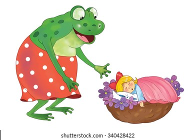 A fairy tale. Thumbelina. A cute tiny girl is sleeping in her bed made from nutshell, violets and rose petals and a big ugly frog is looking at her. Isolated on white. Coloring book