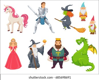 Fairy tale. Unicorn, princess, witch flying on broom, king in crown, dragon, knight paladin with sword, gnome, wizard with stick. Fantastic kingdom character set. Magical stories cute clip art.