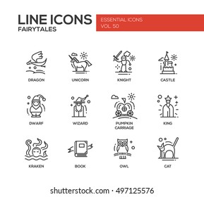 Fairy Tales - set of modern plain line design icons and pictograms. Dragon, unicorn, knight, castle, dwarf, wizard, pumpkin carriage, king, kraken, book, owl, cat