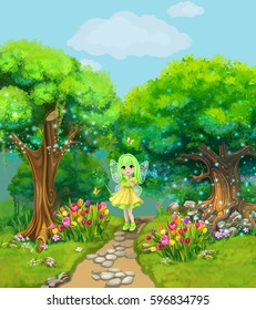 Fairy walking on a path through the magical forest. Illustration.