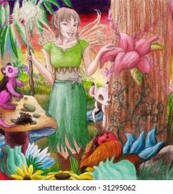 A fairy walks through a garden and a world of untold beauty.