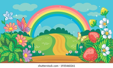 Fairytale background with flower meadow, hills, road and rainbow. Countryside or farm. Fabulous forest landscape. Bush strawberries, daisies and butterflies. Magic nature. Children's illustration.
