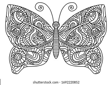 Fairytale butterfly coloring book for children and adults. Stylish ornaments. Dood and Zen, meditation, relaxation.