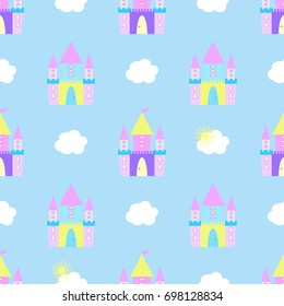 Fairytale castle seamless pattern raster