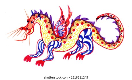 fairytale character, red dragon with one head