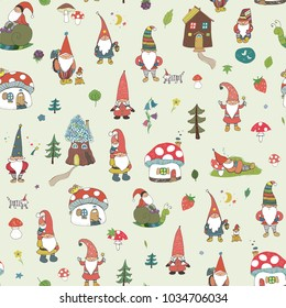 Fairytale fantastic gnome dwarf elf cartoon doodle funny seamless pattern