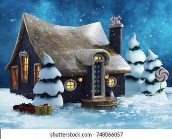 Fairytale gingerbread cottage with trees and Christmas gifts. 3D illustration.
