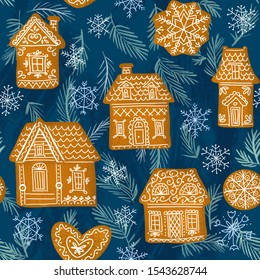 Fairytale gingerbread houses painted in a folk style against the background of snowflakes and fir branches.
