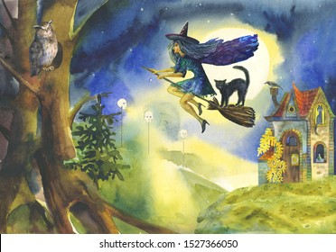 Fairytale Happy Halloween illustration with landscape,flying witch on a broomstick at night, full moon, owl in the forest,black cats,stone witch house, potion,skulls.Suitable for invitations,postcards