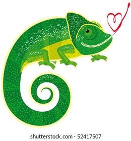 Fairytale isolated chameleon.