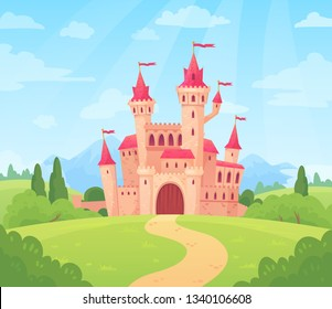 Fairytale landscape with castle. Fantasy palace tower, fantastic fairy house or magic castles kingdom. Old medieval stone tale castle architecture building cartoon  background