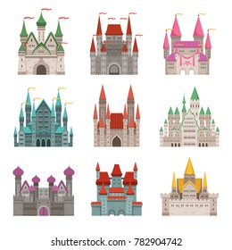 Fairytale old medieval castles or palaces with towers. pictures in cartoon style. Tower castle building and fortress, architecture palace illustration