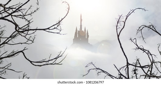 fairytale palace with spooky trees