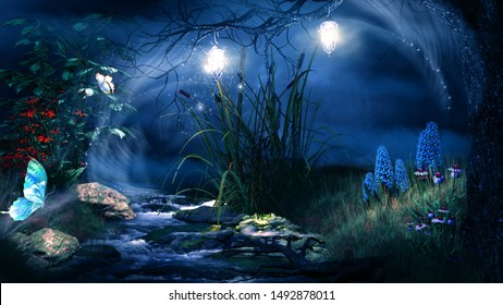 Fairytale scene with creek, lanterns and butterflies. 3D illustration.