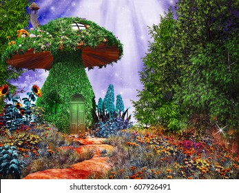Fairytale scene with mushroom house covered by ivy and colorful flowers. 3D illustration