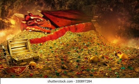 Fairytale scene with red dragon sleeping on the treasure pile