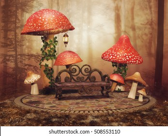 Fairytale scenery with big red mushrooms and a wooden bench in an autumnal forest. 3D illustration.