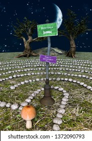 A fairytale stone labyrinth with a mushroom and singboard in its middle. 3D Illustration.