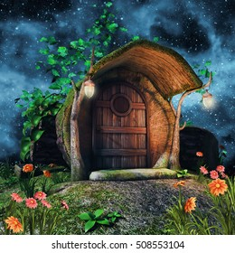 Fairytale tree trunk cottage with ivy, flowers, and lamps at night. 3D illustration.