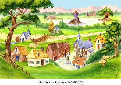 Fairytale Village. Digital Painting Background, Illustration in cartoon style character.
