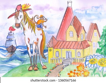 fairytale watercolor sketch for children. background or scenery for Pippi Longstocking children's theater it depicts a Mare and a monkey Pippi, a ship at sea and a house with a clearing where she live