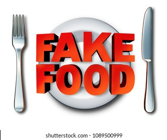 Fake food and counterfeit meal as a plate with fraudulent foods as ingredients fraud misrepresenting a product at the market as a 3D illustration.