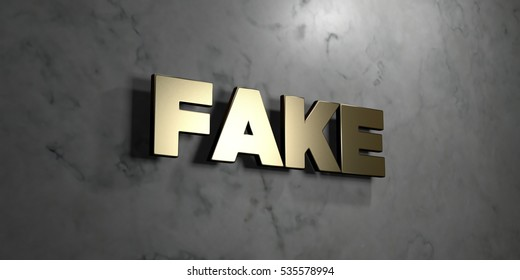 Fake - Gold sign mounted on glossy marble wall  - 3D rendered royalty free stock illustration. This image can be used for an online website banner ad or a print postcard.