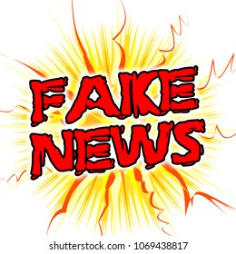 Fake News Cartoon Message And Ribbons 3d Illustration. A Misinformation Hoax And Misleading Deception From Dishonest Media.