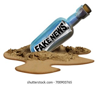 Fake news communication symbol and hoax journalistic reporting as a message in a bottle as text as false media reporting metaphor and deceptive disinformation with 3D illustration elements.